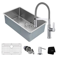 Handmade All-in-One Undermount Stainless Steel 32 in. Single Bowl Kitchen Sink with Faucet in Chrome (Grey)