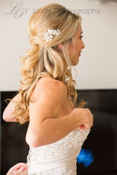 Long curled 1/2 up bridal hairstyle #weddinghairstyles