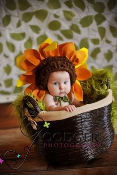Sunflower Baby Bonnet  ...Newborn 3 mos 6 by ImaginationCouture, $39.00