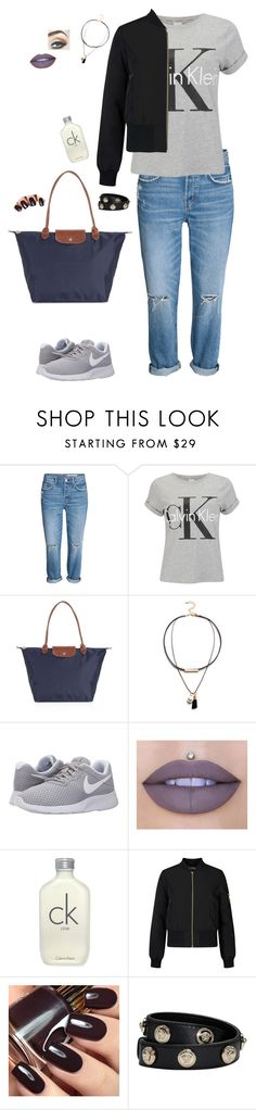 """Sin título #292"" by marissag7 ❤ liked on Polyvore featuring Calvin Klein, Longchamp, NIKE, Jeffree Star, Miss Selfridge and Versace"