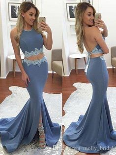 2017 Charming Side Split Two Pieces Prom Dresses Mermaid Lace Halter Sexy Backless Blue Color Dresses Evening Wear Formal Party Dress Trendy Prom Dresses Baby Doll Prom Dresses From Molly_bridal, $82.81| Dhgate.Com