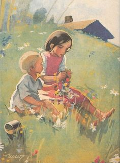 Martta Wendelin was a Finnish artist whose work was widely used to illustrate fairy tales and books, postcards, school books, magazine and book covers. Art And Illustration, Illustrations Posters, Cool Artwork, Beautiful Artwork, Vintage Posters, Vintage Art, Girl Face Drawing, Christian Art, Pictures To Draw