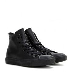 Converse Chuck Taylor All Star Leather High-Top Sneakers ($100) ❤ liked on Polyvore featuring shoes, sneakers, black, leather shoes, converse high tops, high top shoes, black hi tops and black shoes