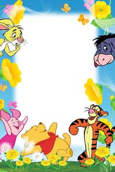 """""""Winnie the Pooh & Friends"""" from """"Winnie the Pooh"""" in blue frame Eeyore, Tigger, Frames Png, Scrapbook Da Disney, Winnie The Pooh Pictures, Baby Pictures, Disney Frames, Boarders And Frames, Page Borders Design"""