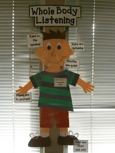 Whole Body Listening Larry for any classroom or therapy room. Organization And Management, Behavior Management, Classroom Organization, Classroom Management, First Grade Classroom, Classroom Behavior, Eyfs Classroom, Classroom Decor, School Resources