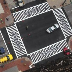 Sixteen crosswalks at four intersections in Baltimore are the subject of a street-spanning public art project that re-imagines white-on-black zebra striping, each with a unique twist. Graham, Interactive Installation, Installation Art, Banksy, Artist Hacks, Passage Piéton, Maryland, Pedestrian Crossing, Journal Du Design