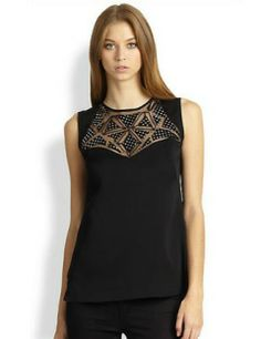 MILLY Embellished Mesh-Panel Top