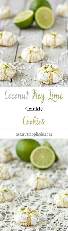 These coconut key lime crinkle cookies are soft inside and slightly crunchy outside, with the perfect kick of lime and a hint of coconut.