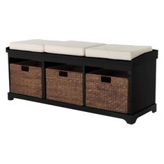 Entryway Bench With 3 Baskets/cushions - Black