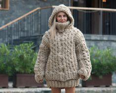 Oversized Cardigan, Wool Cardigan, Wool Sweaters, Handgestrickte Pullover, Knit Jacket, Wool Coat, Winter, Hand Knitting, Sweaters For Women