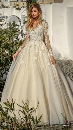 Eva Lendel 2017 bridal long sleeves v neck heavily embellished bodice romantic princess ivory a  line wedding dress illusion lace back chapel train (allen) mv #wedding #bridal #weddingdress