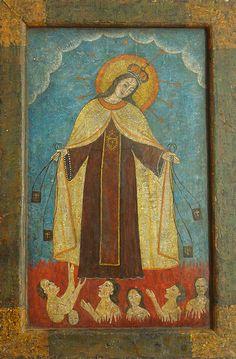 """Virgen del Carmen con las Animas del Purgatorio"" colonial venezolano siglo XVIII. oleo/tabla, med: 39X26 cms."