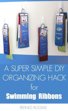Drowning in a collection of swim ribbon clutter? Check out this quick & easy DIY solution for organizing swim ribbons! Ribbon Organization, Ribbon Storage, Home Organization Hacks, Organizing Tips, Cleaning Tips, Award Ribbon Display, Award Display, Swim Ribbons, Horse Show Ribbons