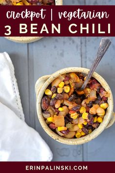 This slow cooker veggie chili is hearty and super easy to make! With 3 different beans and all of the vegetables, the flavor is out of this world! Using the slow cooker to make chili is also a good idea for meal prepping because it stay fresh for up to 3 months in the freezer! This recipe can be doubled for a larger crowd and be made soupy for the cracker lovers! Top with your favorite chili toppings like cheese and sour cream!