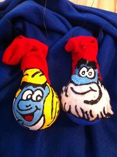 The Smurfs ornaments, handmade by: me❤️