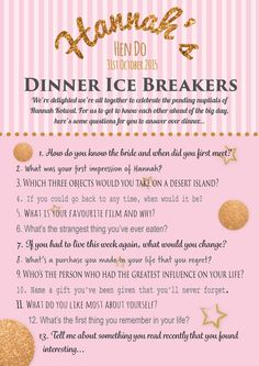 Personalised hen party game – Ice breaker questions game – Printable hen do game – Pink & gold glitter – Bachelorette party game Personalised hen party game Ice breaker by PrintedPersonally Classy Hen Party Games, Dinner Party Games, Fun Party Games, Dinner Parties, Hens Night Games, Hen Night Ideas, Hen Ideas, Game Night, Glitter Bachelorette Party