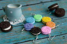 Oreo Cookie Earrings Handmade Polymer Clay by PolinaCreationsCom