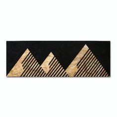 Montagnes de meks, peinture acrylique, osb, acrylique noir norme orientée, peinture à bord, la texture du bois, Conseil, décoration murale bois, montagnes