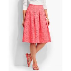 Talbots Women's Daisies  Dots Eyelet Skirt ($60) ❤ liked on Polyvore featuring skirts, full skirts, talbots, red polka dot skirt, polka dot skirt and talbots skirts