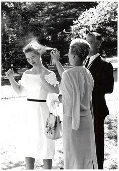 A student gets spritzed, 1961, Vasar College