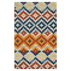 Hand-hooked wool rug with a multicolor Southwestern motif.  Product: RugConstruction Material: WoolC...