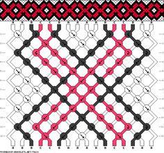 Friendship bracelet pattern - traditional - 16 strings - 3 colors