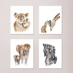 Mom and Baby Elephant Watercolor Art Nursery Wall Art Various Sizes Available Safari Nursery Decor ** You can find out more details at the link of the image.(It is Amazon affiliate link) #NewMomGiftsIdeas