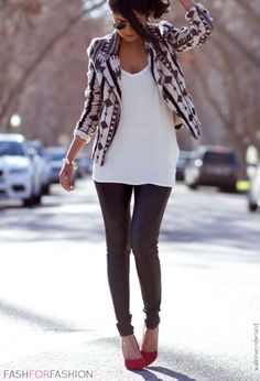 Printed blazer, white tank, leather leggings, red pumps