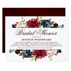 Burgundy Red Navy Floral Rustic Boho Bridal Shower Card - floral bridal shower gifts wedding bride party