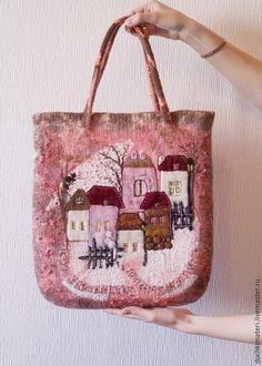 Женские сумки ручной работы. Ярмарка Мастеров - ручная работа. Купить Розовый закат. Handmade. Разноцветный, домик, деревенька, сумка