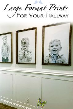 Creating Large Prints For Your Hallway Gallery Wall Transform your child's photos to larger than life prints, creating an eye-popping wall. Adding wainscot and clean, simple paint makes this look elegant and welcoming.<br> Sometimes projects start and finish in a day, while other times they take months. This project was more of the latter, and quite frankly, it is still not complete. But just like anything else, decor is a labor of love. The vision I had for our hallway started with a desire…