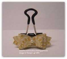 Be Creative with Nicole: Obsessed with Paper Bows! Oval punch bow on a binder clip.