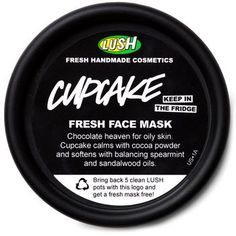 LUSH Cupcake Chocolate Mask: If you suffer from oily or spotty skin, slather it in this cocoa concoction. With spearmint oil to cool, vanilla absolute to calm redness and Rhassoul mud to deeply cleanse- Cupcake is a sweet savior for young faces. Smothering yourself in chocolate for clearer skin?