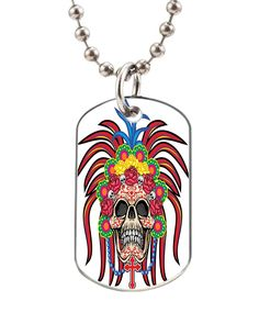 Arms with skull dog pet tag--- BIG-Size oval Dog Pet Tag 1.32 x 2.2 inche with 38' Aluminum Bead Chain * You can get additional details at the image link. (This is an affiliate link and I receive a commission for the sales)