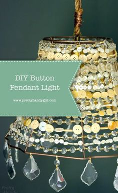 DIY Button Pendant Light | DIY light fixture | Pretty Handy Girl | #prettyhandygirl #DIYlight #DIY #craft #pendantlight #diypendantlight Diy Pendant Light, Outdoor Light Fixtures, Outdoor Lighting, Diy Buttons, Lamp Socket, Save Money On Groceries, Light Project, Saving Ideas