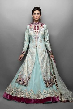 Aqua Net Lehenga Paired with Silk Jacket