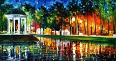 "GAZEBO BY THE WATER — PALETTE KNIFE Oil Painting On Canvas By Leonid Afremov - Size 36""x20"""