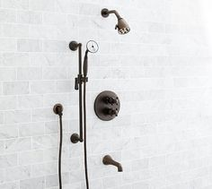 Warby Thermostatic Cross-Handle Bathtub & Hand-Held Shower Faucet Set, Antique Bronze Finish