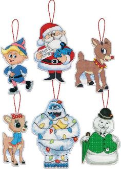 Dimensions Rudolph Christmas Ornaments Plastic Canvas Cross Stitch Kit. This…