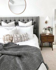 Borchers Upholstered Panel Bed - Home Decoration Ideas - Bedroom Cozy Bedroom, Dream Bedroom, Home Decor Bedroom, Bedroom Furniture, Bedroom Inspo Grey, Budget Bedroom, Bedroom Curtains, White Comforter Bedroom, Grey Bedding