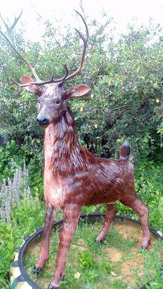 Вторая жизнь пластиковой бутылки -Deer made of plastic bottles -  except for antlers :)