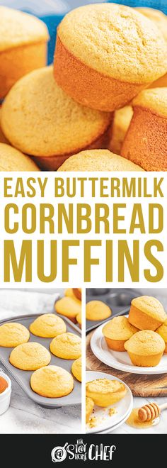 These sweet, buttermilk cornbread muffins are super easy to make and super tasty too. It doesn't get any easier than this! Buttermilk Cornbread, Homemade Cornbread, Cornbread Muffins, Chef Recipes, Muffin Recipes, Baking Recipes, Recipies, Bread Recipes, Pain Pizza