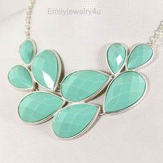 High Quality Silver Tone Statement Necklace,Mint Green Bib Bubble Necklace,Chunky Necklace,Cluster Necklace-BN352. $16.00, via Etsy.