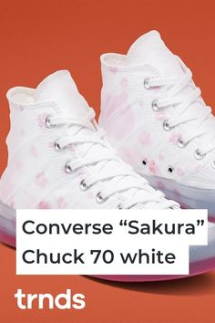 "Inspired by Japan's famous cherry blossom season, Converse has just released two sneaker iterations as part of the ""Sakura"" Chuck 70 Pack. Nike Air Force, Nike Air Max, High Top Chucks, Cherry Blossom Season, Color Pop, Colour, White Converse, Air Max 95, Sheer Fabrics"