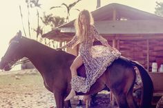 """horsesenvogue: """" Inka Williams for Spell, 2014 by Ali Mitton """" Horse Girl Photography, Equine Photography, Horse Fashion, Boho Fashion, Spell Byron Bay, Inka Williams, Pia Mia, Culture, Animal Print Dresses"""