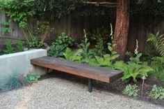 nice bench, concrete, shade garden