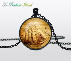 "PIRATE MAP PENDANT pirate map jewelry pirate by ThePendantIsland $13.50, 24"" chain"