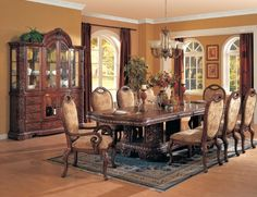 7-Piece Brown Cherry Wood Dining Room Table & 6 Chairs by Kings Brand Furniture. $2299.99