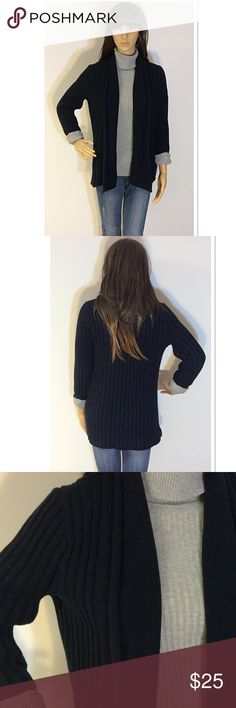 SONOMA BLACK OPEN FRONT CARDIGAN Basic cardigan with slightly cropped sleeves. The sleeves have cuffs that are tacked but you could always untack them if you want the sleeves longer.. they hit me right at my wrist bone in length. Nice roll down collar. Gently used Sonoma Sweaters Cardigans