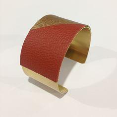 LATI - Cuir veille or/rouille + laiton doré 35 mm